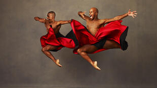 Alvin Ailey American Dance Theater's Kirven James Boyd and Glenn Allen Sims in Robert Battle's The Hunt