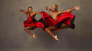 Alvin Ailey American Dance Theater's Kirven James Boyd and Glenn Allen Sims in Robert Battle's The Hunt
