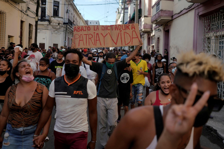 Des manifestations d'une ampleur inédite sont survenues dans les rues de plusieurs villes cubaines. La Havane, le 11 juillet 2021.