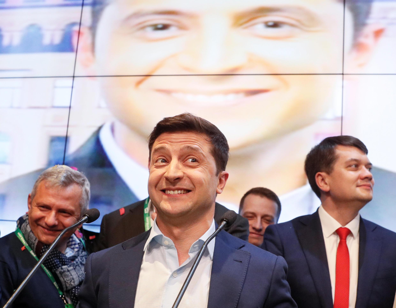 Владимир Зеленский в своем штабе вечером 21 апреля 2019