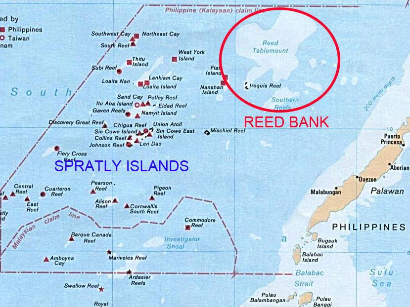 Bản đồ bãi Cỏ Rong, thuộc vùng đặc quyền kinh tế của Philippines, đang có tranh chấp với Trung Quốc.
