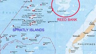 Bản đồ cho thấy Bãi Cỏ Rong, thuộc vùng đặc quyền kinh tế của Philippines, đang có tranh chấp với Trung Quốc.