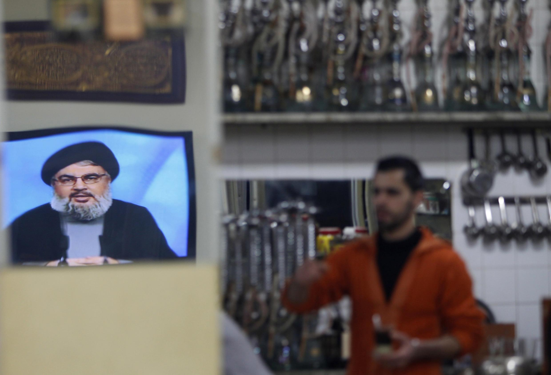 Lebanon's Hezbollah Chief Nasrallah speaking on television on Sunday