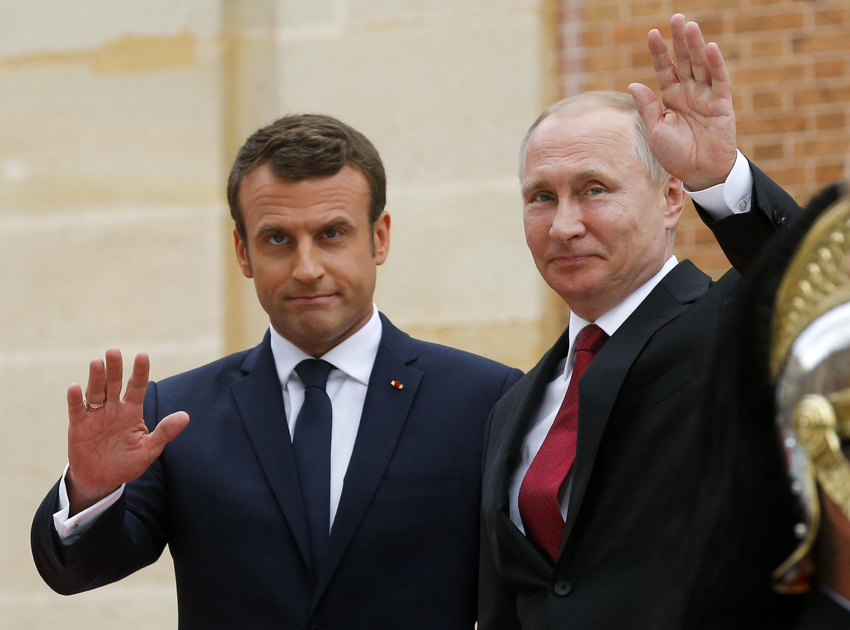 Первая встреча Эмманюэля Макрона и Владимира Путина в Версале, 29 мая 2017.