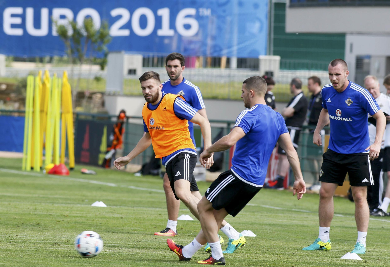L'équipe d'Irlande lors d'un entrainement au parc Montchervet à Saint-Georges-de-Reneins, le 6 juin 2016.