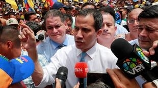 Venezuelan opposition leader Juan Guaido at a protest in the capital Caracas, 10 March 2020.