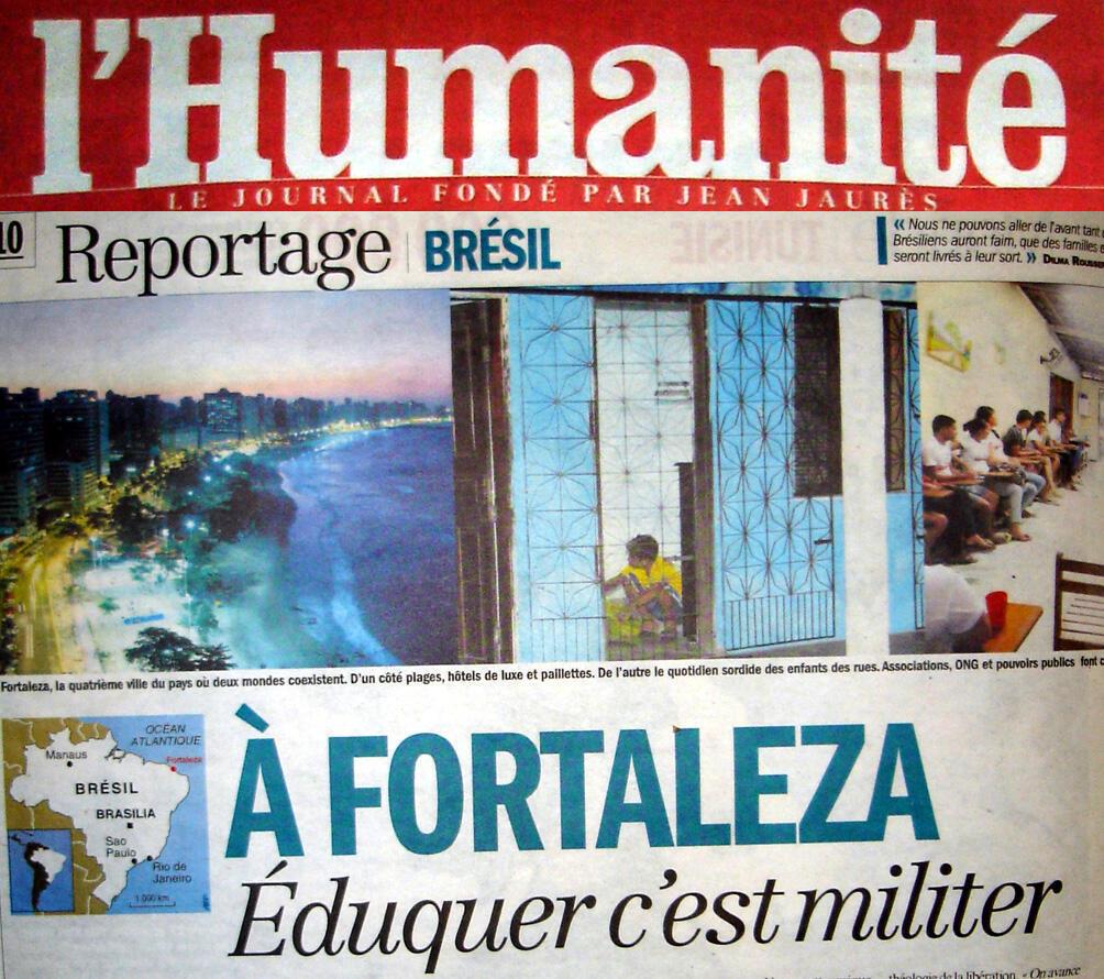 """""""Em Fortaleza, educar é uma militância"""", afirma o título da reportagem do jornal francês L'Humanité."""