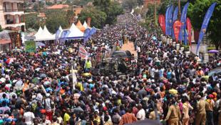 Thousands of pilgrims attending mass at Ugandan Martyrs Shrine in Namugongo, June 3, 2019