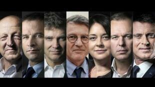 از راست: مانوئل والس، فرانسوا دو روژی، سیلویا پینِل، ونسان پِیون، آرنو مونتبورگ، بِنوا هامون، ژان لوک بنامیاس،