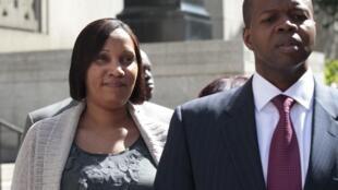 Nafissatou Diallo (R) with lawyer Kenneth Thompson