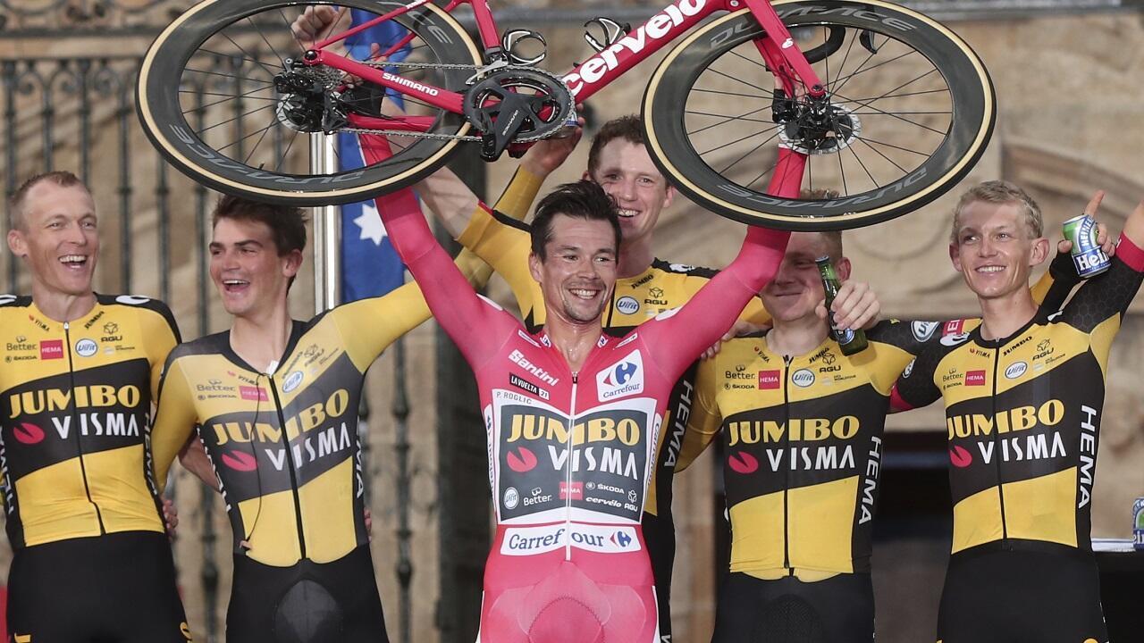 Le Slovène Primoz Roglic, vainqueur du Tour d'Espagne, le 5 septembre 2021.