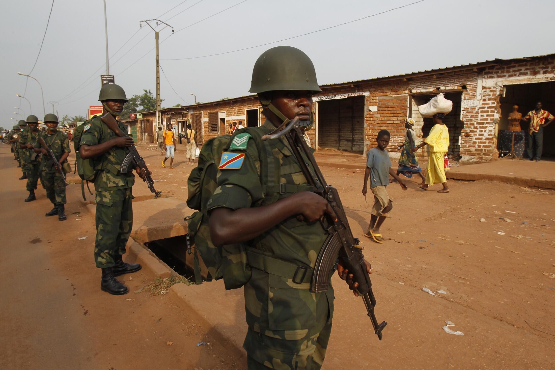 Des soldats congolais membres de la force africaine en Centrafrique. Bangui, le 12 février 2014.