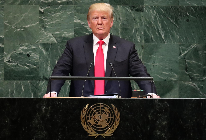 Presidente americano Donald Trump em discurso na ONU, 25 de setembro de 2018