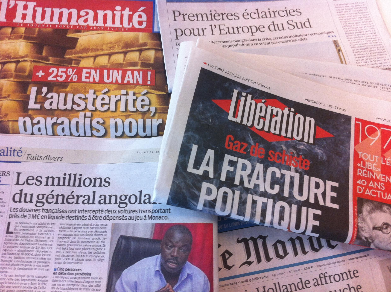 Capas dos diários de 12/07/2013