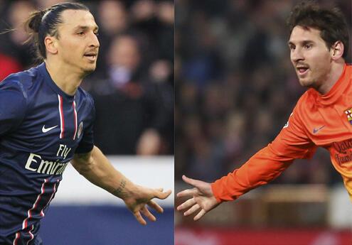 O parisiense Zlatan Ibrahimovic (à esquerda) e o catalão Lionel Messi (à direita)