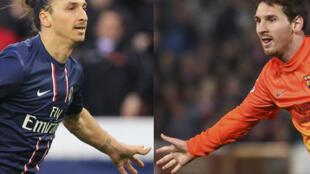 Mshambuliaji wa PSG Zlatan Ibrahimovic (Kusoto) na Mshambuliaji wa Barcelona Lionel Messi (kulia) kabla ya mchezo wao usiku wa leo