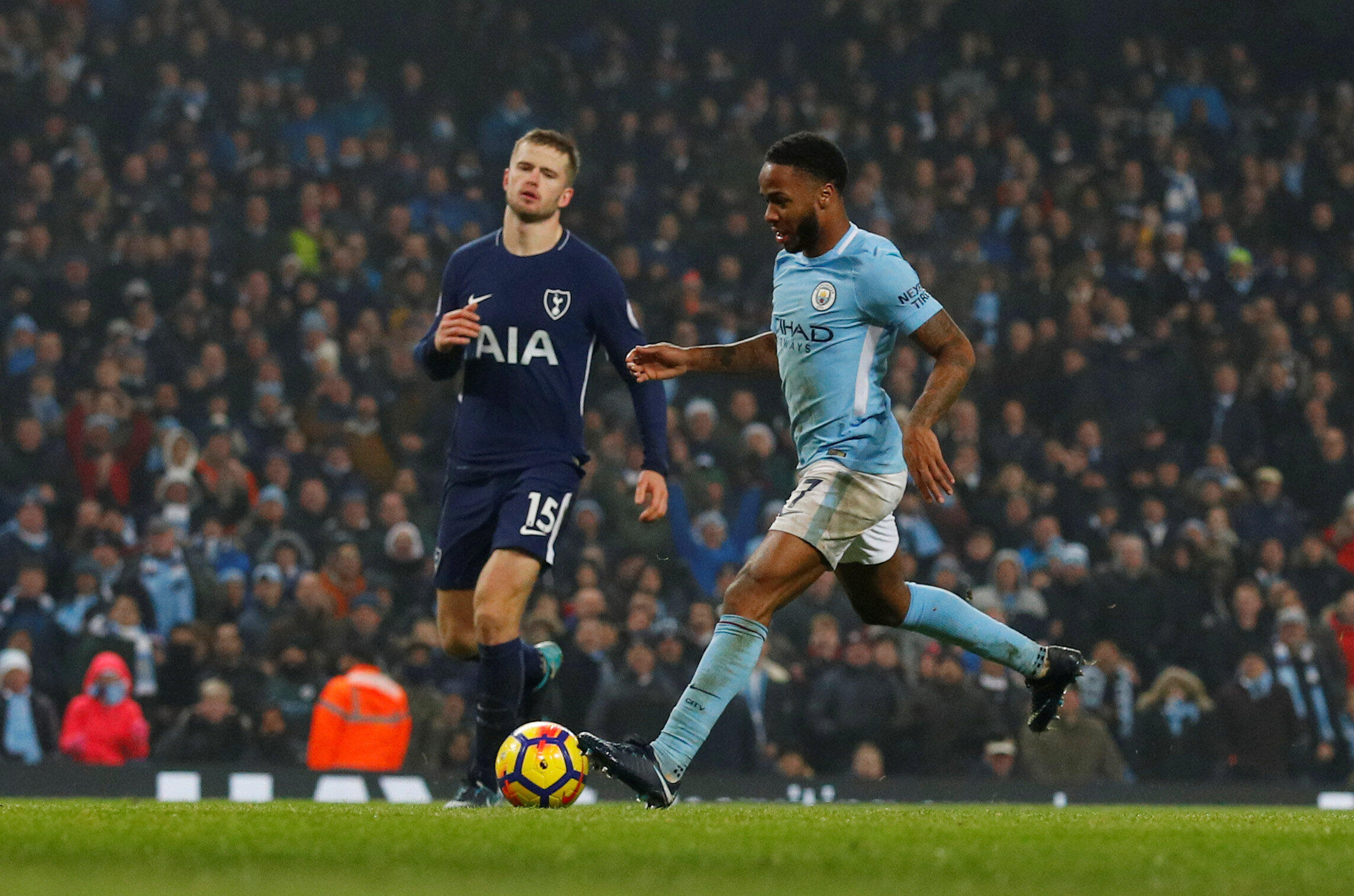 Manchester City's Raheem Sterling scores his team's fourth goal against Tottenham.