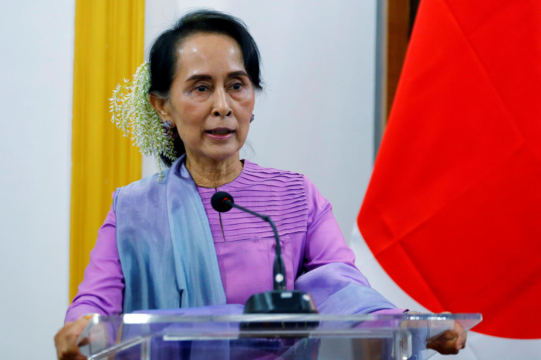 Lãnh đạo Miến Điện Aung San Suu Kyi trong cuộc họp báo ngày 12/01/2018, tại Naypyidaw.