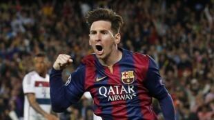 Lionel Messi aliyeifungia klabu yake ya Barcelona mabao mawili dhidi ya Arsenal, Jumanne Februari 23, 2016.