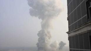 圖為微博上發表的義馬氣化廠爆炸場面
