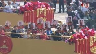 """圖為中國十一大閱兵隊伍中的""""紅二代方隊""""部分陣容。"""