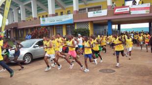Kigali, Rwanda : démarrage de la 12e édition du marathon international pour la paix de Kigali, le dimanche 22 mai 2016, au stade Amahoro de Kigali