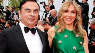O executivo franco-líbano-brasileiro Carlos Ghosn e a esposa, Carole.