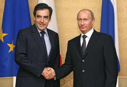 Франсуа Фийон и Владимир Путин на встрече в Сочи 20 сентября 2008.