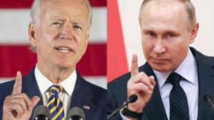 El presidente de Estados Unidos, Joe Biden, y su homólogo ruso, Vladimir Putin, en una combinación creado el 7 de junio de 2021