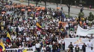 La journée de grève nationale s'est déroulée dans une ambiance festive à Bogota, le 21 novembre 2019.
