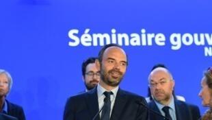 Le Premier ministre Edouard Philippe en séminaire avec son équipe samedi 1er juillet à Nancy.