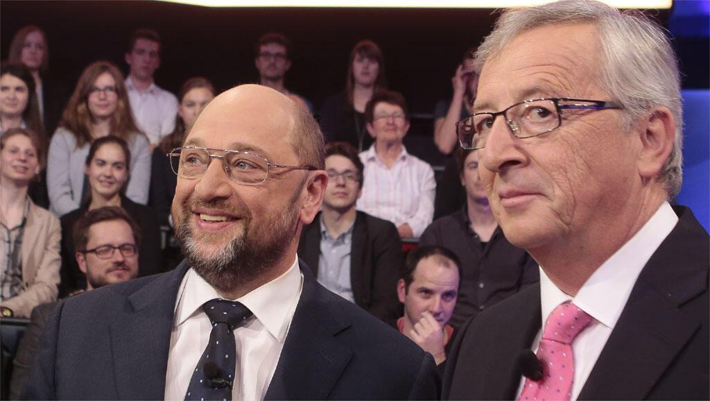 Martin Schulz et Jean-Claude Juncker, lors d'une émission télévisée, studios ZDF, à Berlin le 8 mai 2014.