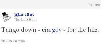 L'annonce de l'attaque du site de la CIA a immédiatement été relayée sur Twitter.