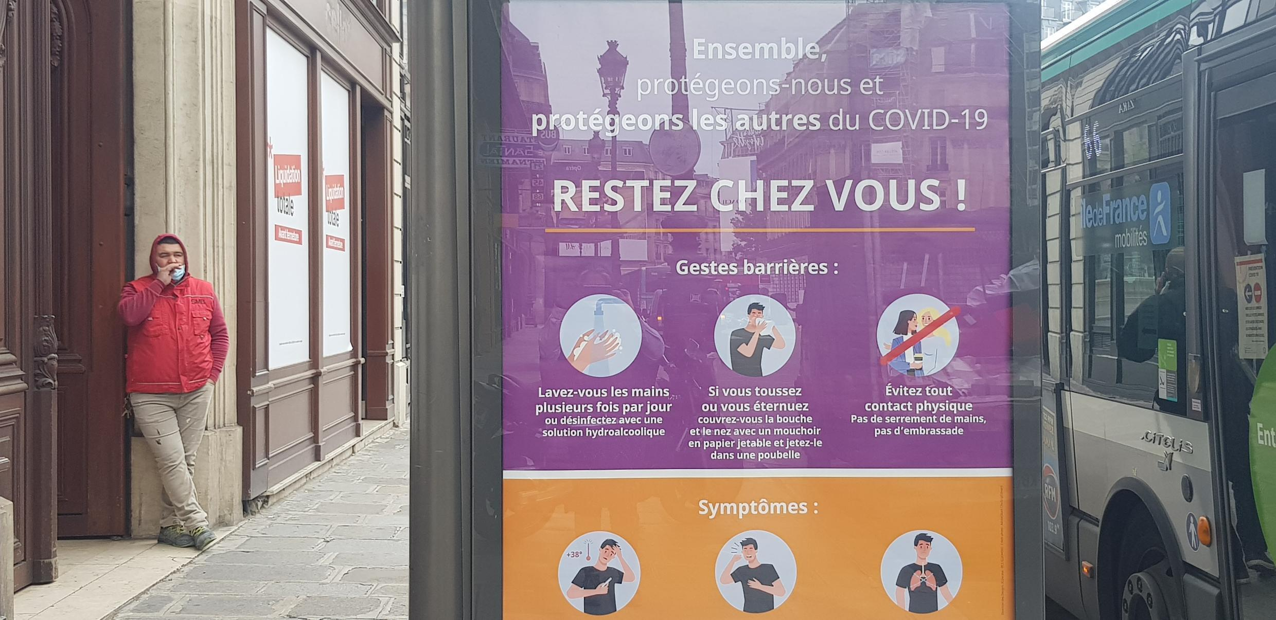 Paris bus stop messaging what is the new norm in the Covid era despite easing out of lockdown.