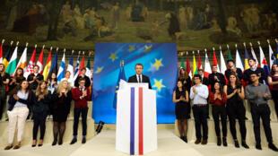 法國總統馬克龍在索邦大學發表歐洲前景演講