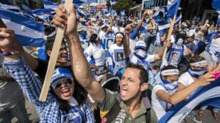 Manifestation de citoyens nicaraguayens vivant au Costa Rica contre le gouvernement du président nicaraguayen Daniel Ortega, à San José, le 20 janvier 2019.
