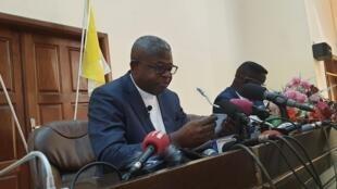 L'abbé Donatien Nshole, porte-parole de la Cenco, le 17 décembre 2019 (photo d'illustration).