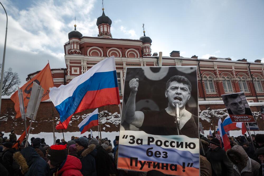 На марше в память о Борисе Немцове в Москве