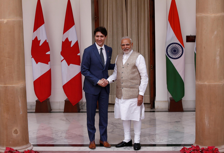 加拿大總理特魯多與印度總理莫迪 2018年2月23日