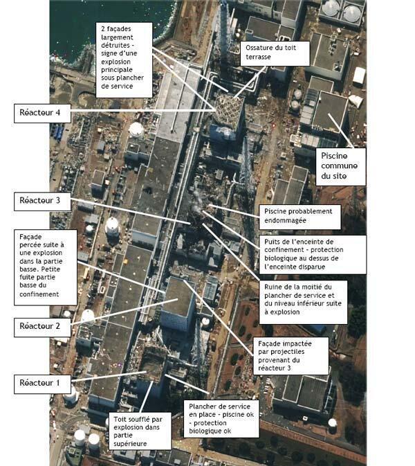Situation des bâtiments de la centrale nucléaire de Fukushima au Japon après le séisme du 11 mars 2011.