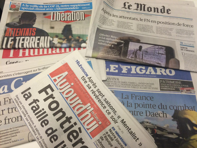 Primeiras páginas dos jornais franceses de 24/11/2015
