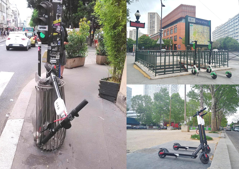 """Xe trượt """"trottinette"""" đậu bừa bãi bị cho vào sọt rác ở Paris"""