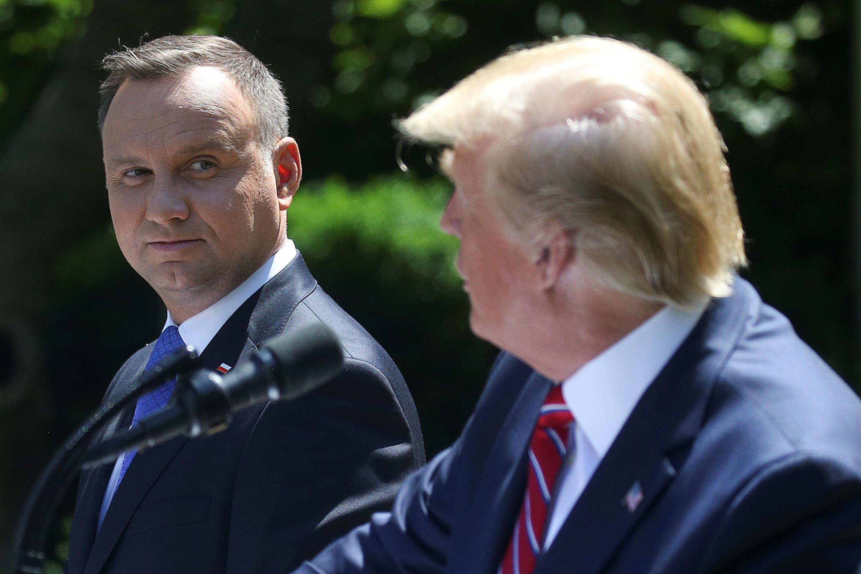 Tổng thống Ba Lan Andrzej Duda và đồng nhiệm Mỹ Donald Trump trong cuộc họp báo chung tại Washington, ngày 12/06/2019.