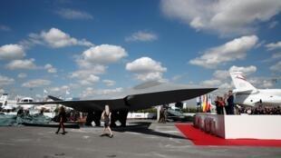La maquette du futur avion de combat européen présentée au Salon du Bourget, le 17 juin 2019.