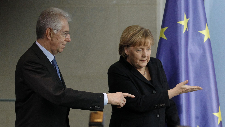 Ангела Меркель и Марио Монти после переговоров в Берлине 11/01/2012