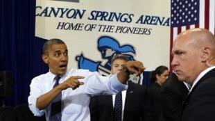 O presidente americano Barack Obama durante evento de campanha em Las Vegas nesta quarta-feira.