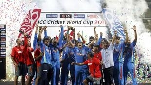 Indian cricket team winning the 2011 world cup.