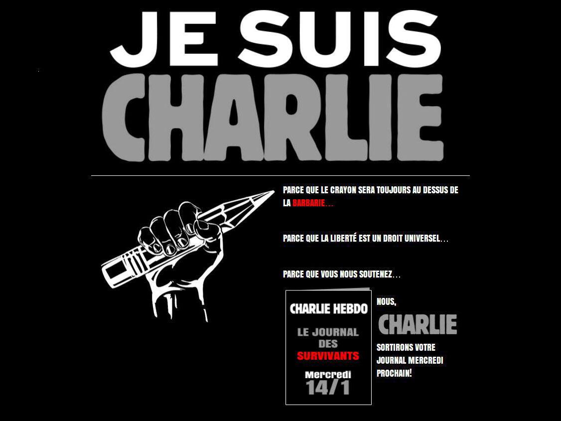 Charlie Hebdo annonce la sortie d'un « journal des survivants », après l'attentat qui a décimé le journal satirique. Capture d'écran du site internet de Charlie Hebdo, jeudi 8 janvier 2015.