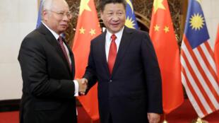 Thủ tướng Malaysia Najib Razak gặp chủ tịch Trung Quốc Tập Cận Binh tại Bắc Kinh, ngày 03/11/2016.