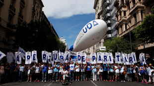 Manifestación de profesores, este 6 de marzo de 2017 en Buenos Aires.